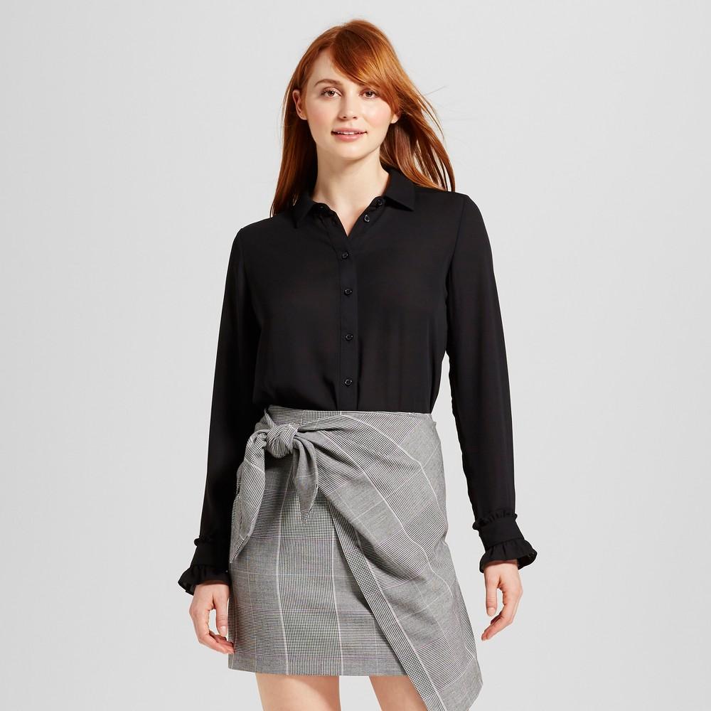 Womens Ruffle Cuff Blouse - Who What Wear Black XL
