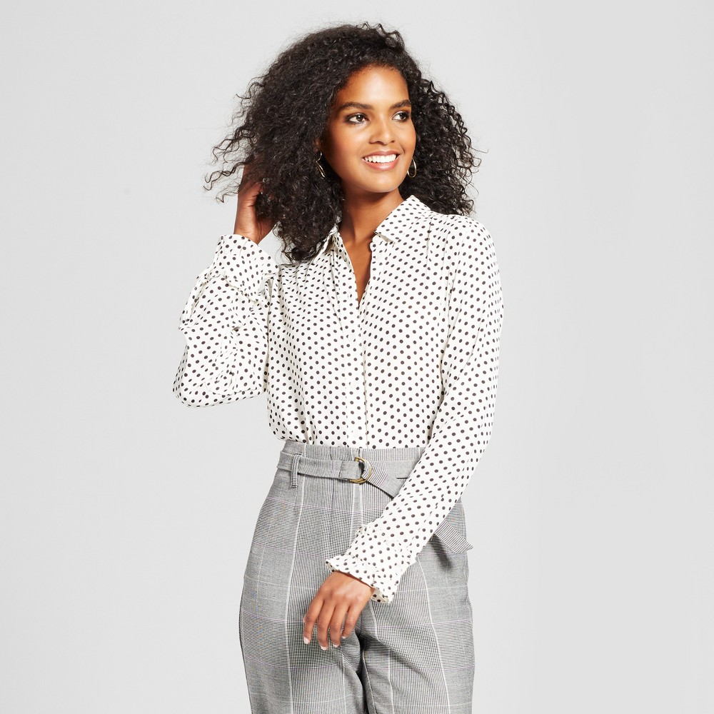 Womens Ruffle Cuff Blouse - Who What Wear White/ Black Polka Dot Xxl, White/Black Polka Dot