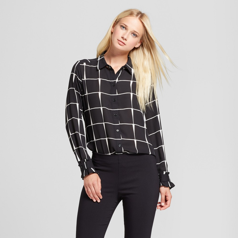 Womens Ruffle Cuff Blouse- Who What Wear Black Plaid XS