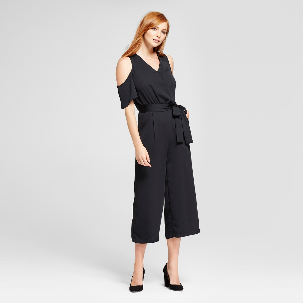Womens Front Tie Wrap Jumpsuit - Mossimo Black XL