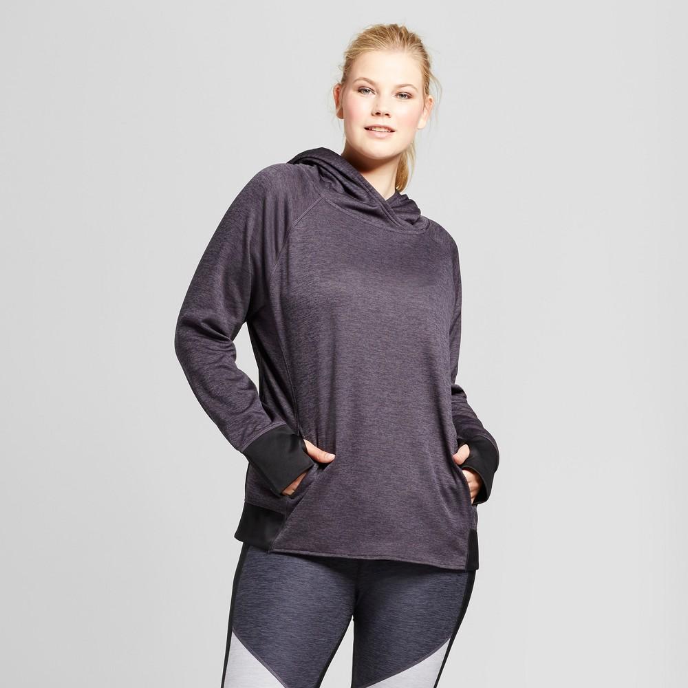 Womens Plus-Size Tech Fleece Zip Front Jacket - C9 Champion Dark Gray Heather 2X