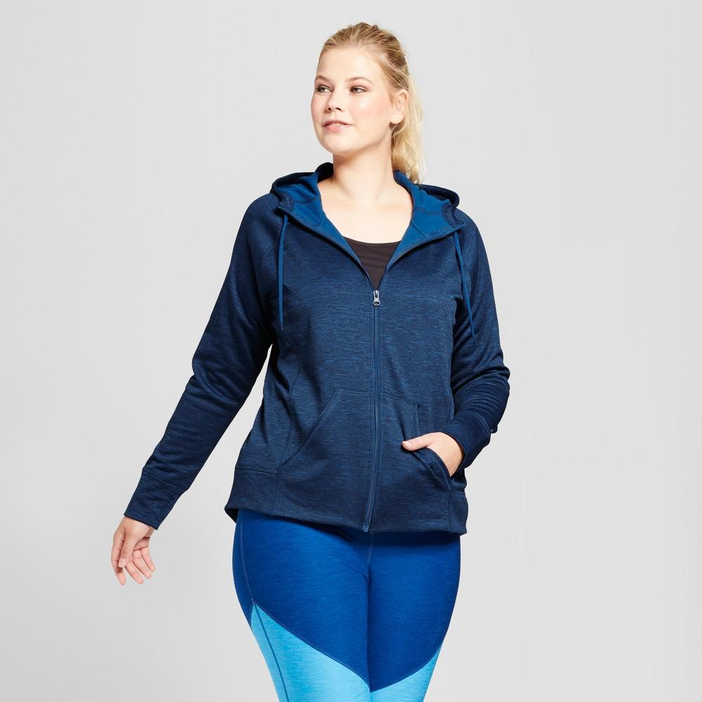 Womens Plus-Size Tech Fleece Zip Front Jacket - C9 Champion Teal (Blue) 4X