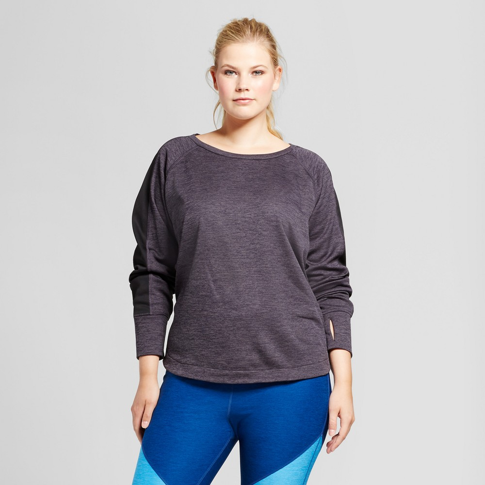 Womens Plus-Size Colorblocked Long Sleeve Tech Fleece Crew - C9 Champion Dark Gray Heather 3X, Dary Gray