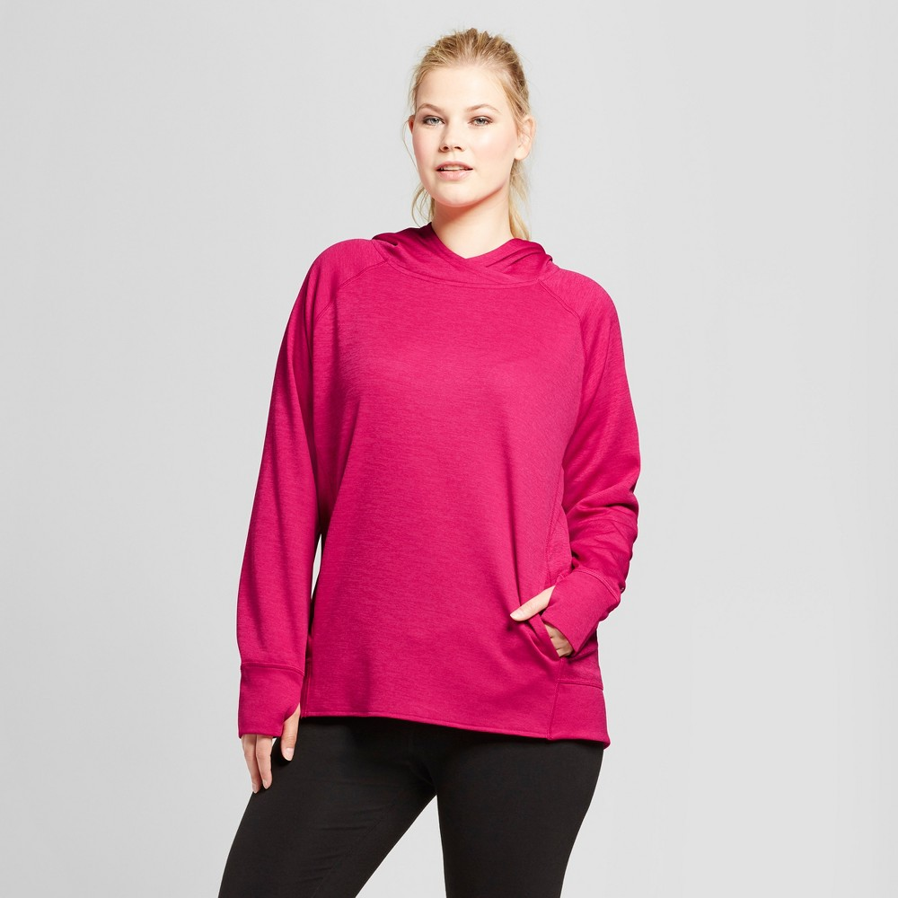 Womens Plus-Size Tech Fleece Hoodie - C9 Champion Raspberry 1X