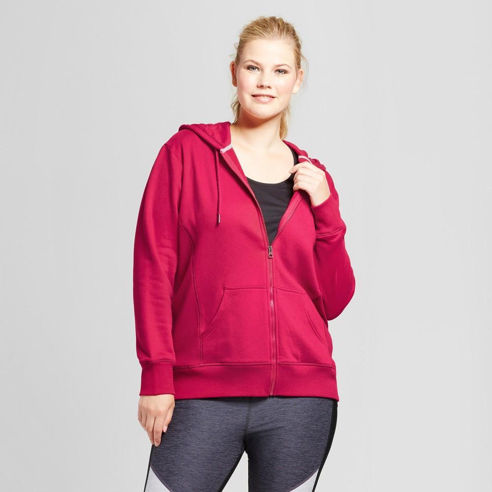 Womens Plus-Size Authentic Fleece Sweatshirt Full Zip - C9 Champion Armature Red 3X