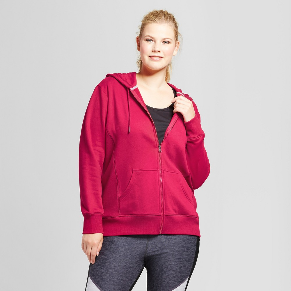 Womens Plus-Size Authentic Fleece Sweatshirt Full Zip - C9 Champion Armature Red 4X