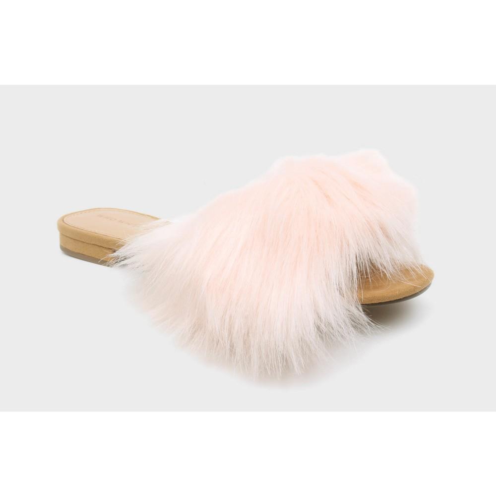 Womens Louise Fur Flat Slide Sandals Who What Wear - Blushing 6.5