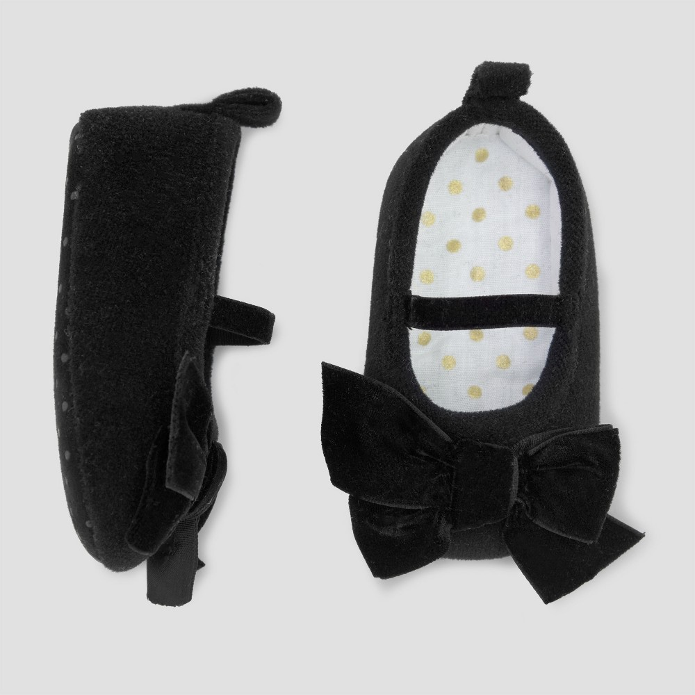 Baby Girls Mary Jane with Velvet Bow- Just One You Made by Carters Black NB