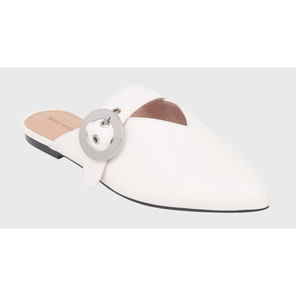 Womens Story Buckle Detail Flat Mules Who What Wear - White 8.5