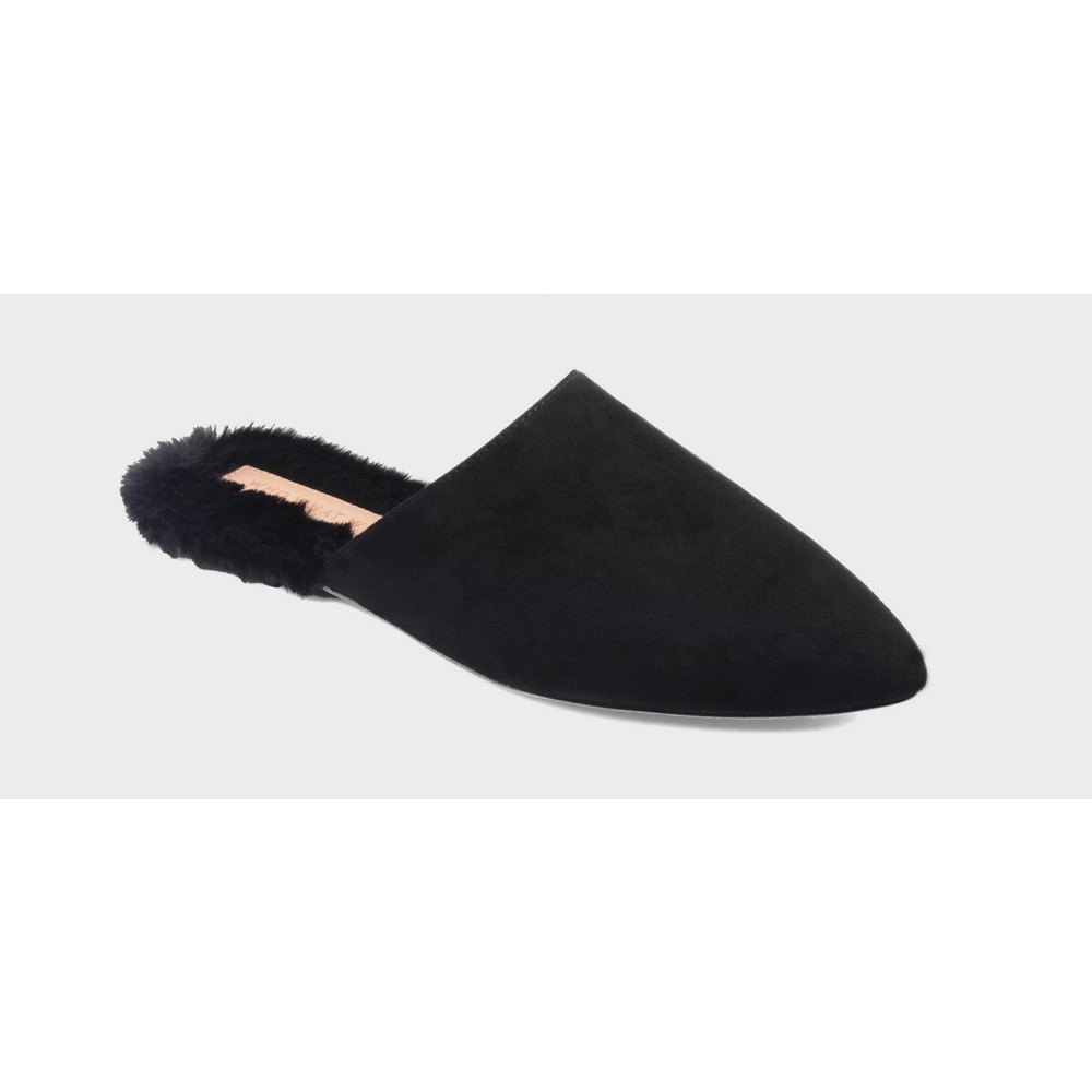 Womens Lorne Faux Fur Lined Flat Mules Who What Wear - Black 6.5
