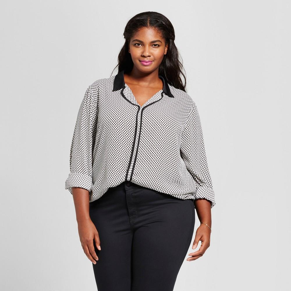 Womens Plus Size Geo Print Pajama Blouse - Ava & Viv Black/White 1X