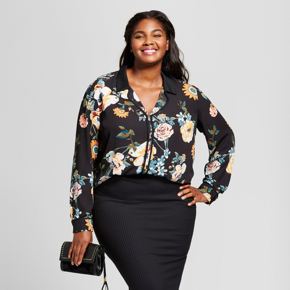 Womens Plus Size Floral Print Pajama Blouse - Ava & Viv Black 1X