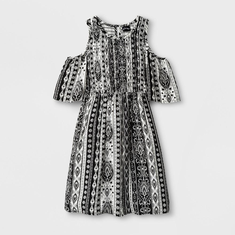 Girls Smocked Cold Shoulder Dress - Art Class Black XL (14-16)