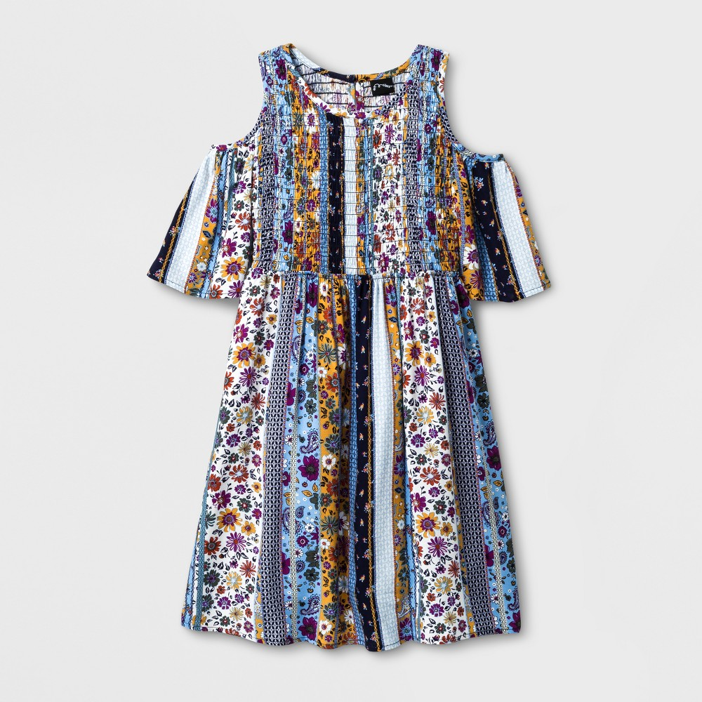 Girls Smocked Cold Shoulder Dress - Art Class Blue L (10-12)