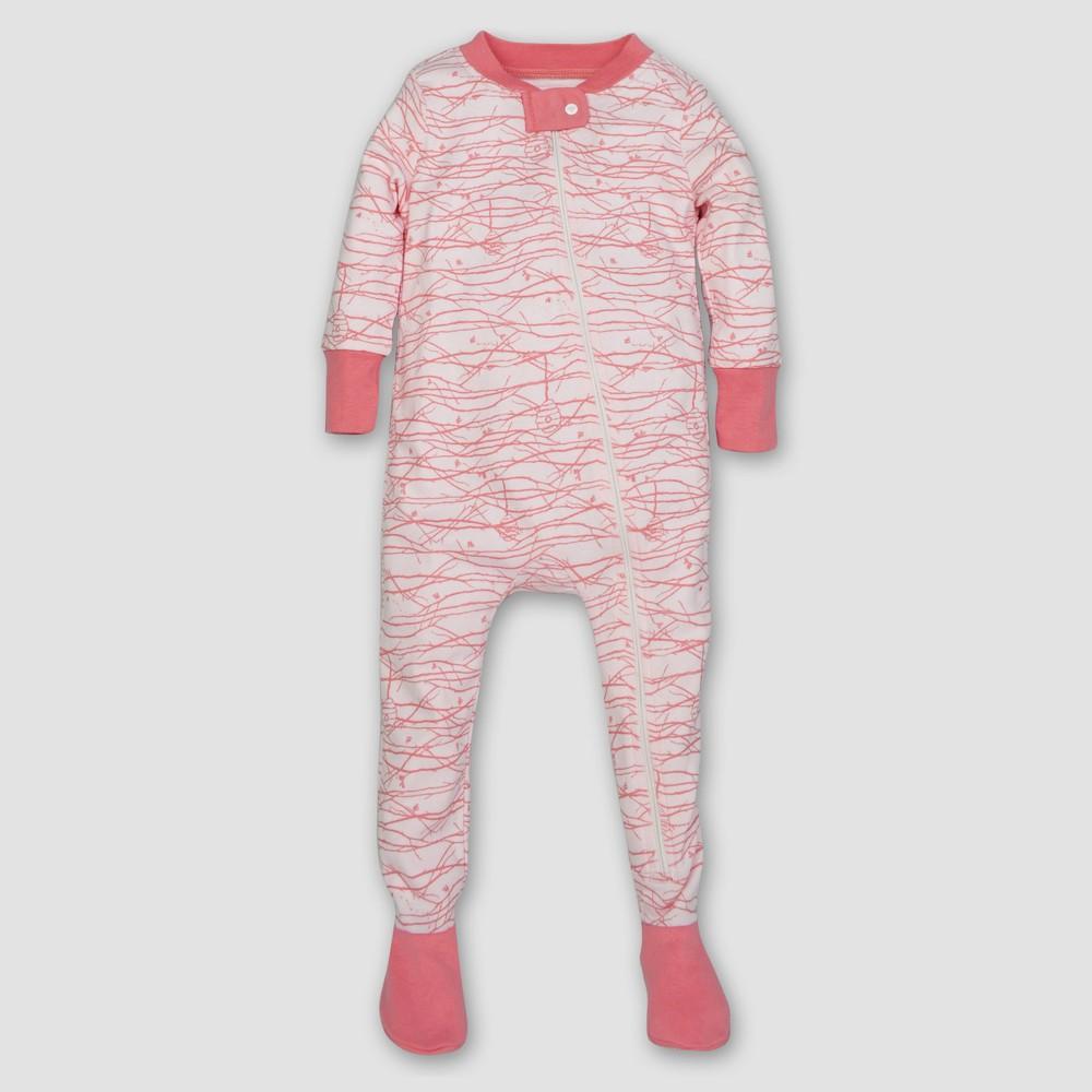 Burt's Bees Baby Girls' Organic Trees Sleeper - Pink 3-6M, Size: 3-6 M