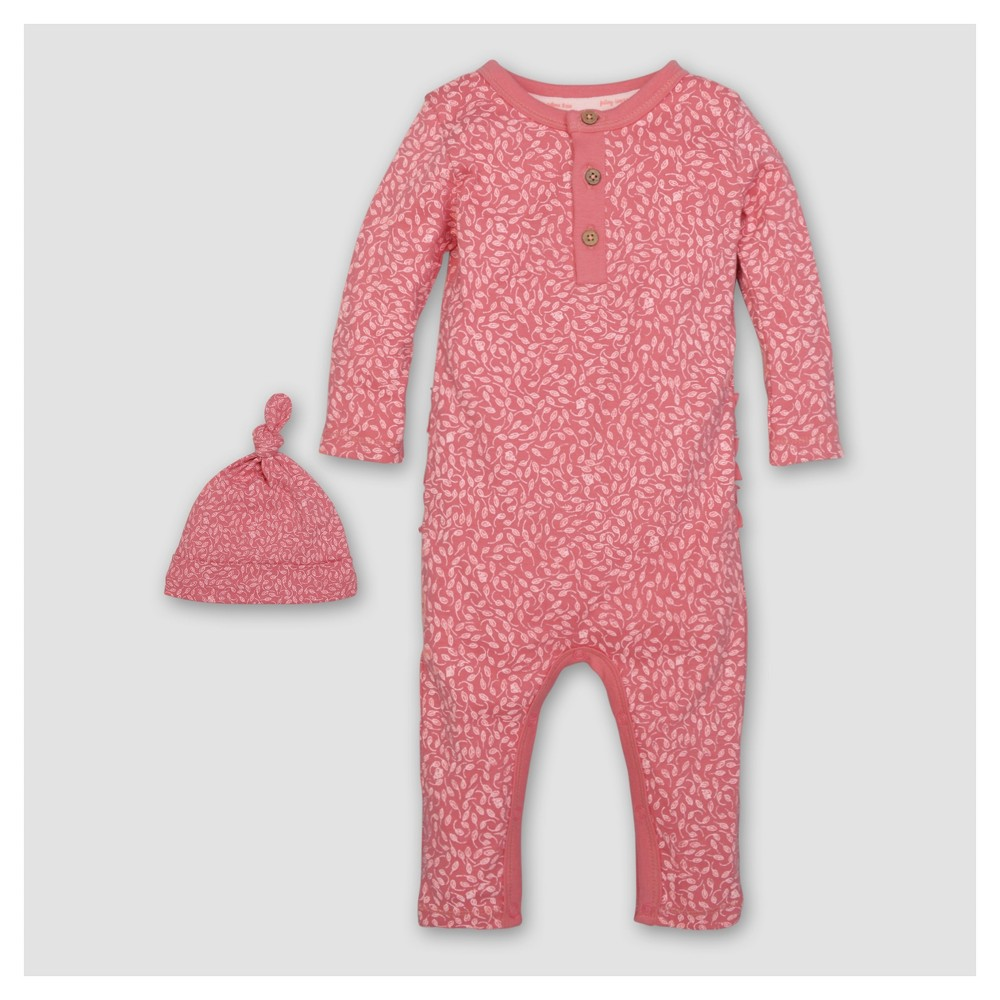 Burts Bees Baby Girls Organic Ditsy Leaf Coverall & Hat Set - Pink 3-6M, Size: 3-6 M