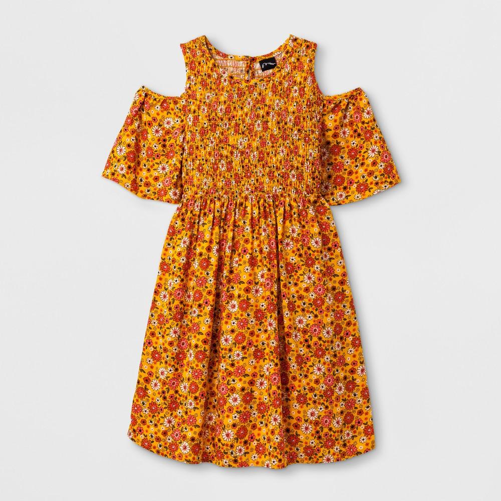 Girls Smocked Cold Shoulder Dress - Art Class Sunflower XS, Orange