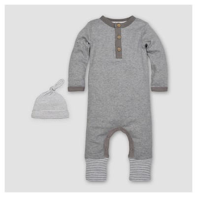 Burt's Bees Baby® Boys' Organic Henley Coverall & Hat Set - Heather Gray 0-3M