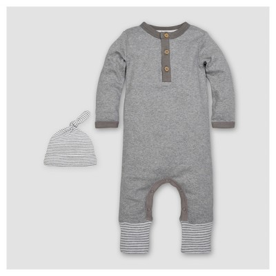 Burt's Bees Baby® Boys' Organic Henley Coverall & Hat Set - Heather Gray 6-9M