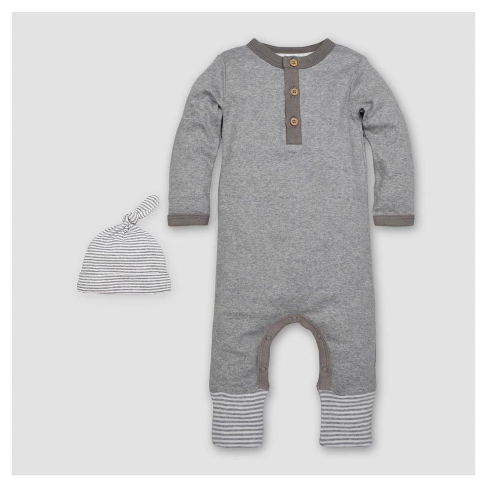 Burts Bees Baby Boys Organic Henley Coverall & Hat Set - Heather Gray 6-9M, Size: 6-9 M