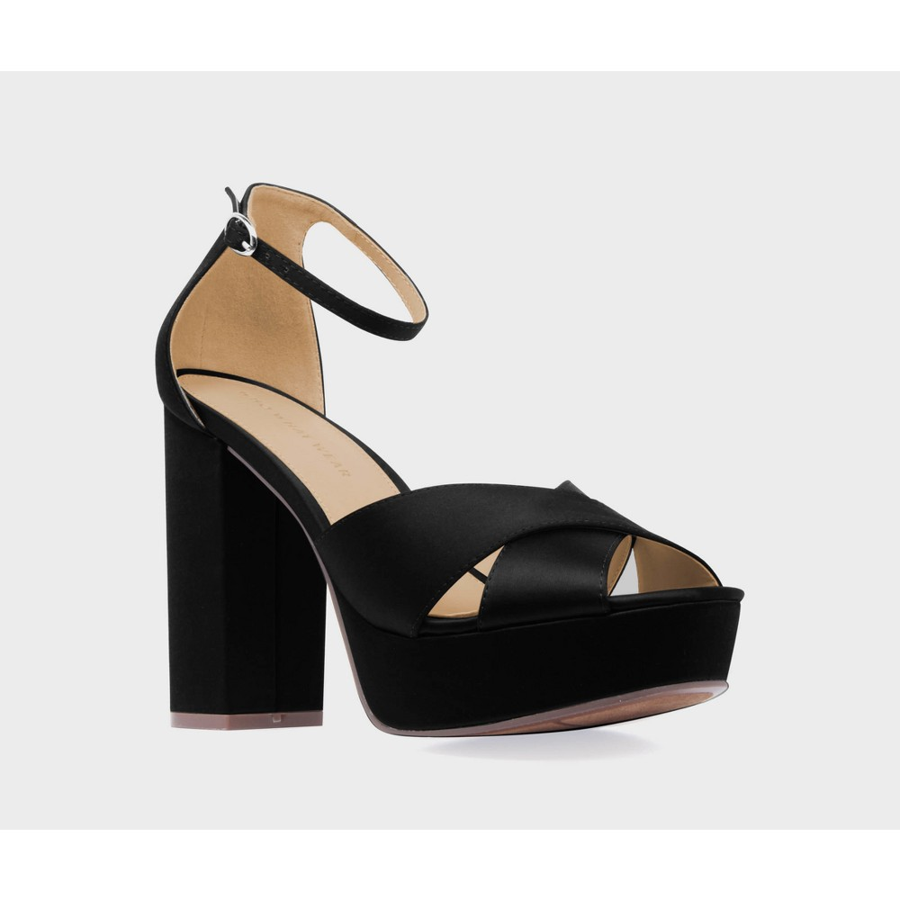 Womens Sydney Satin Platform Crossband Quarter Strap Sandal Heels Who What Wear - Black 10