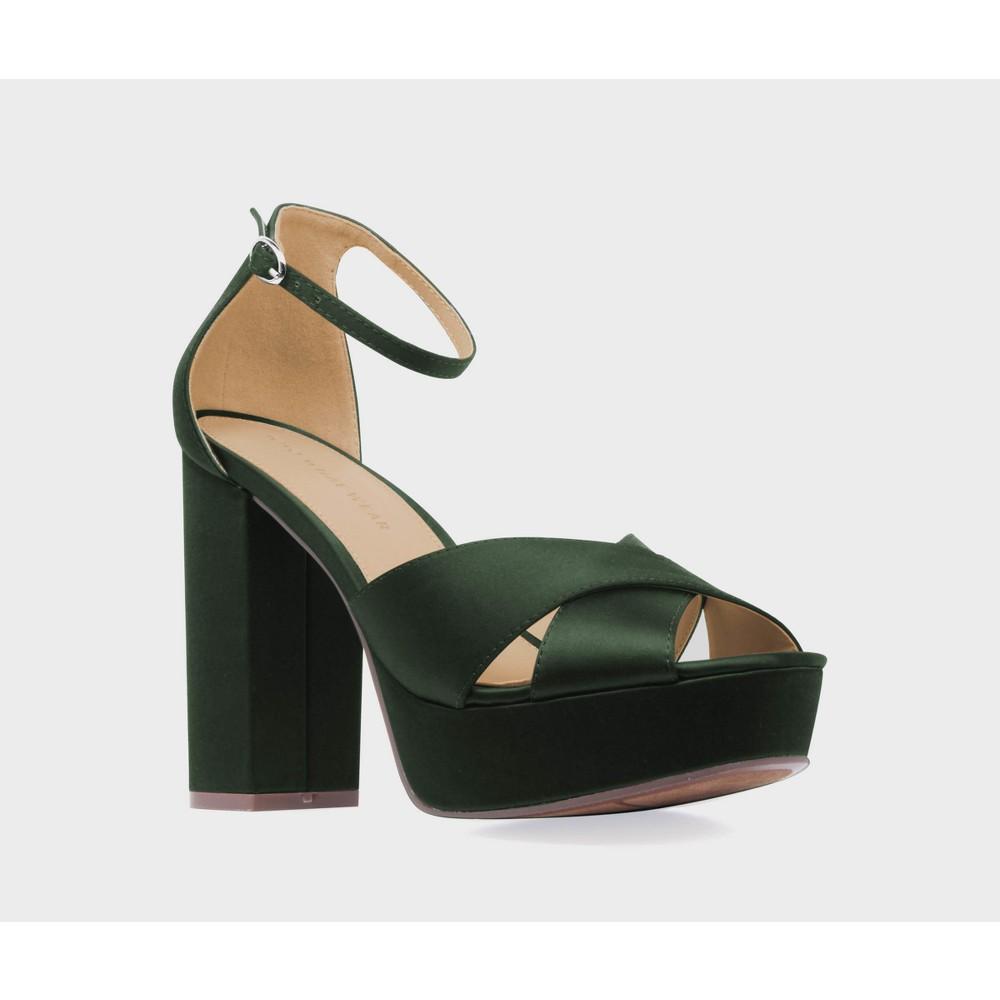 Womens Sydney Satin Platform Crossband Quarter Strap Sandal Heels Who What Wear - Green 8