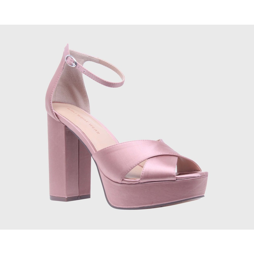 Womens Sydney Satin Platform Crossband Quarter Strap Sandal Heels Who What Wear - Pink 7.5