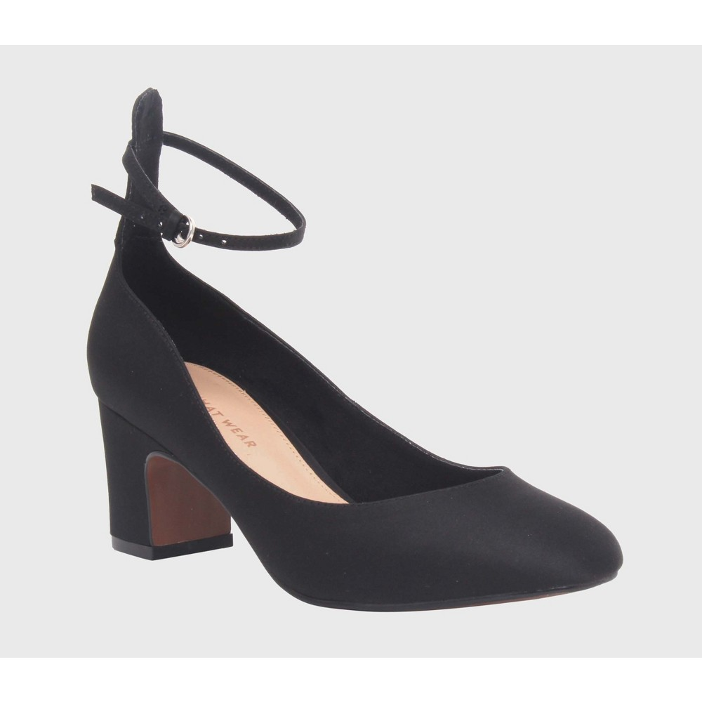 Womens Angelique Satin Quarter Strap Sandal Heels Who What Wear - Black 6