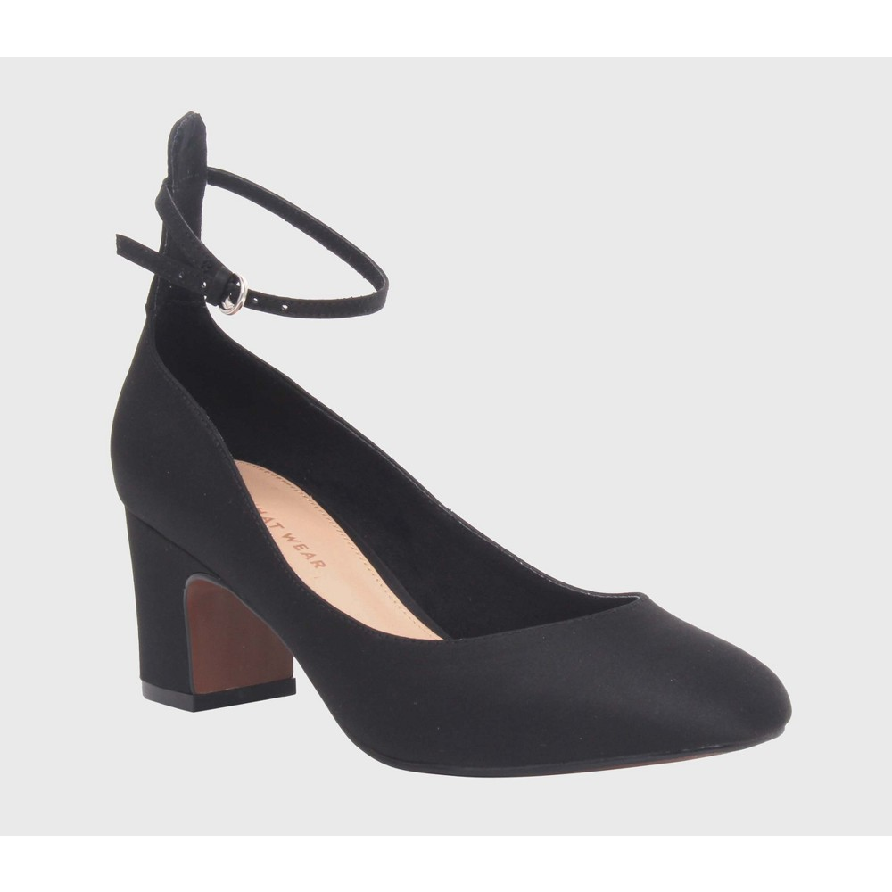Womens Angelique Satin Quarter Strap Sandal Heels Who What Wear - Black 10