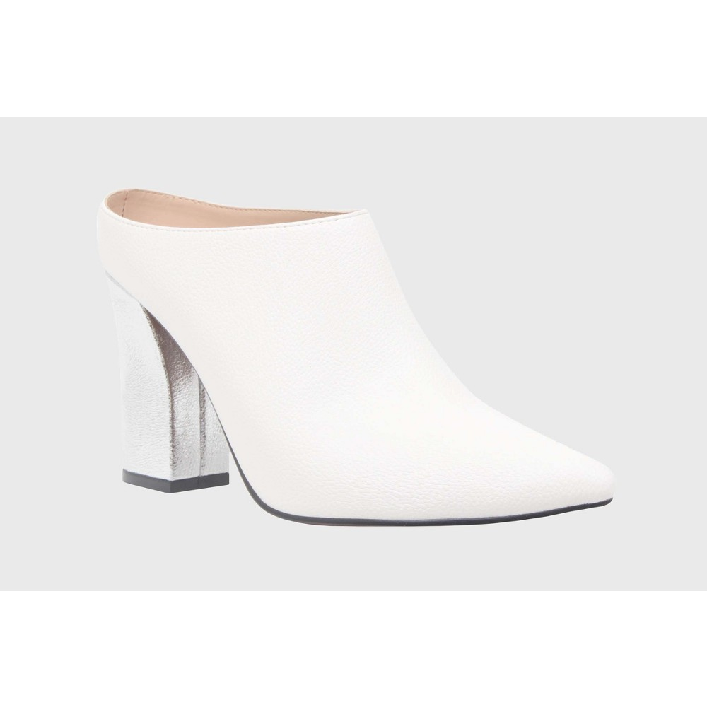 Womens Trisha Pointed Toe Silver Heel Mules Who What Wear - White 9