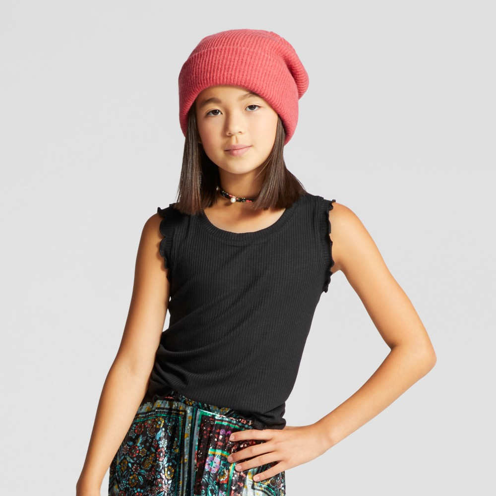 Girls Rib Knit Tank Top - Art Class Black L