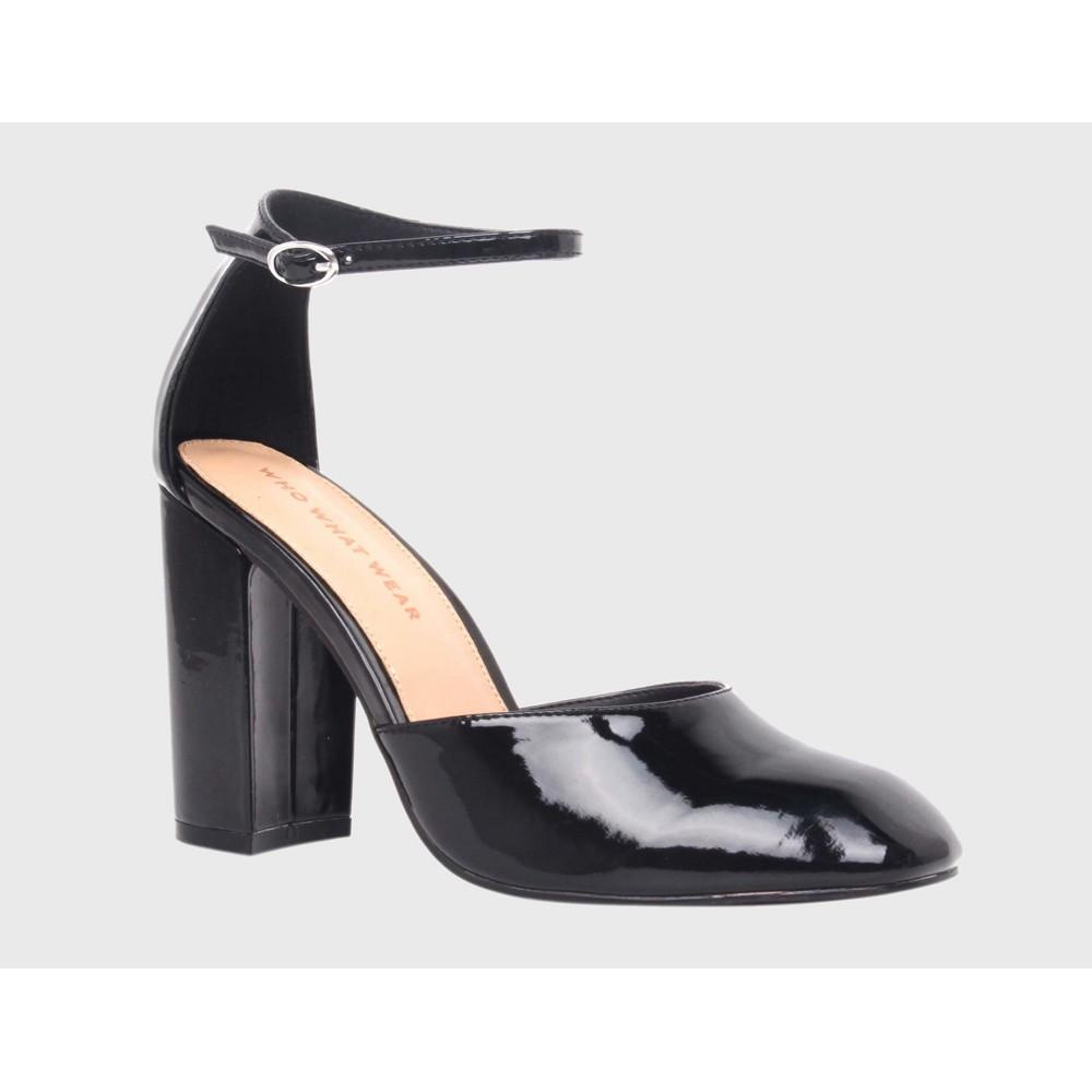 Womens Juliette Patent Block Heel Quarter Strap Sandals Pumps Who What Wear - Black 8