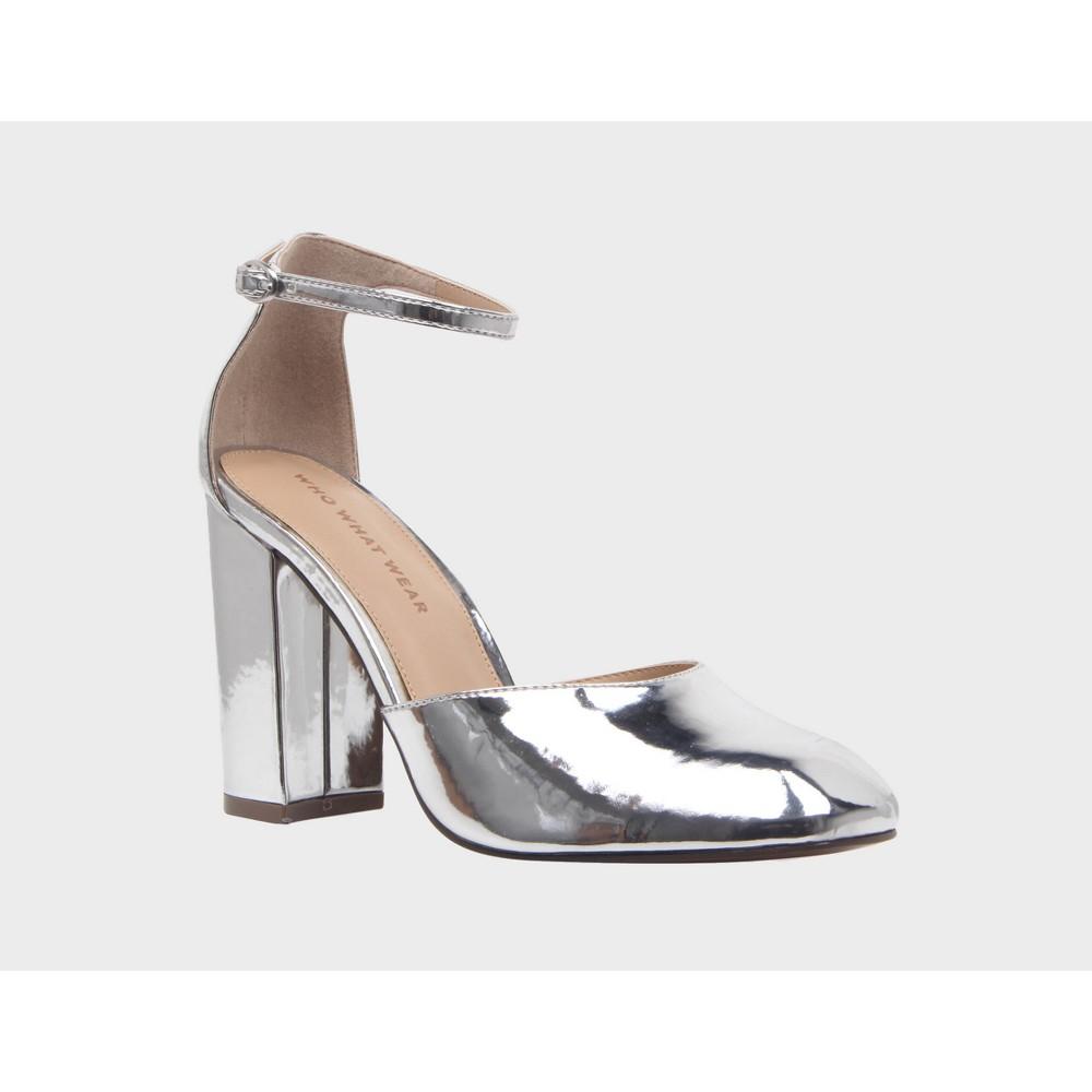 Womens Juliette Patent Block Heel Quarter Strap Sandals Pumps Who What Wear - Silver 9