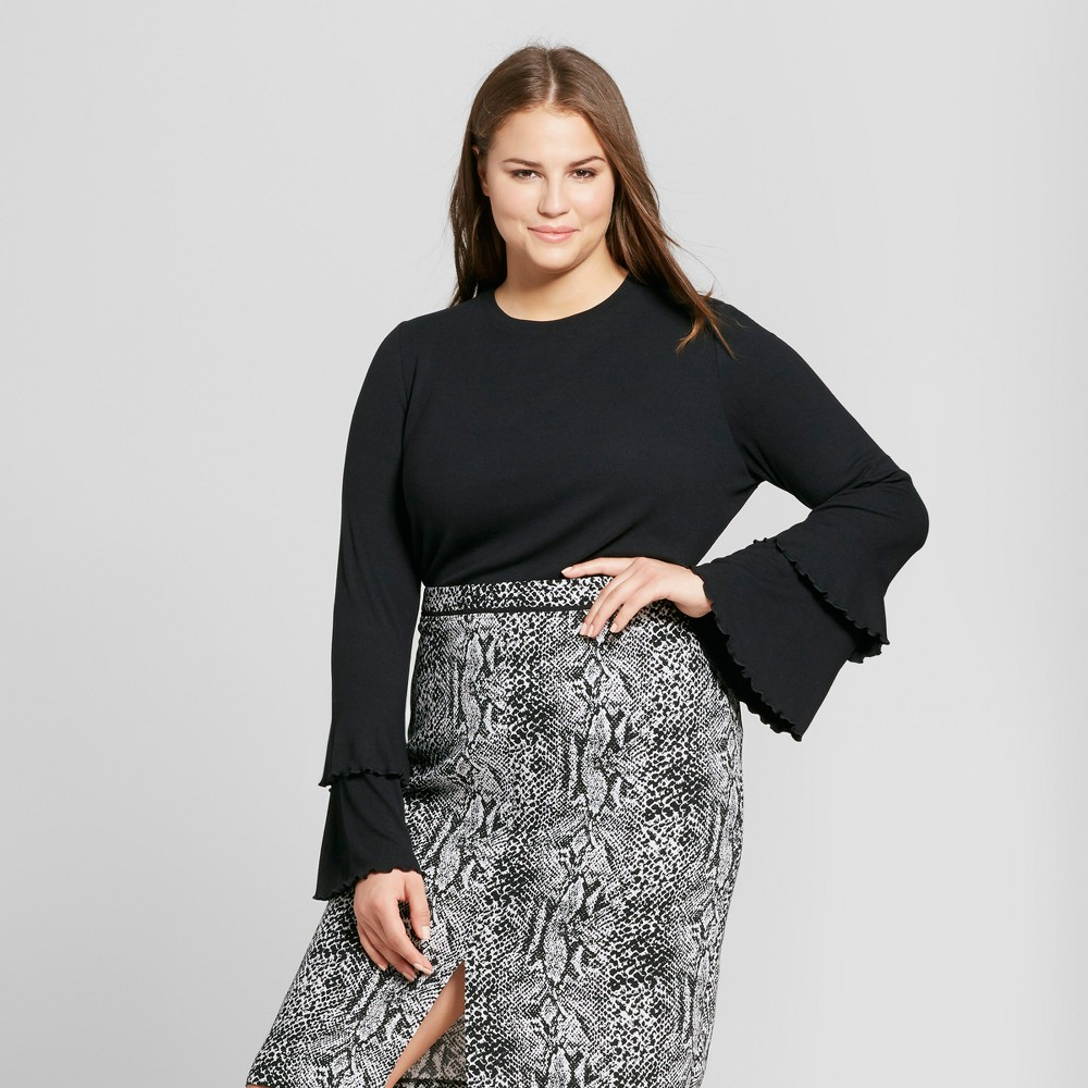 Womens Plus Size Ruffle Bell Sleeve Ribbed Top - Who What Wear Black 2X