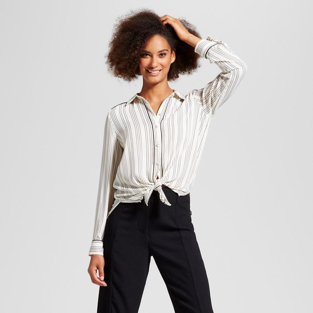 Womens Piped Pajama Shirt - Who What Wear White/Black Stripe M