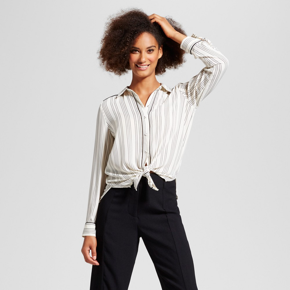 Women's Long Sleeve Piped Pajama Shirt - Who What Wear White/Black Stripe XL
