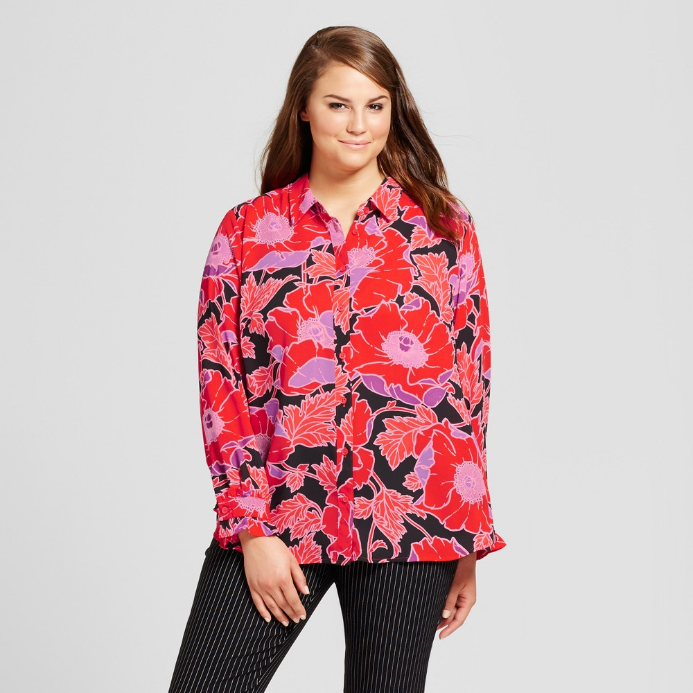 Womens Plus Size Ruffle Cuff Blouse - Who What Wear Orange Floral X