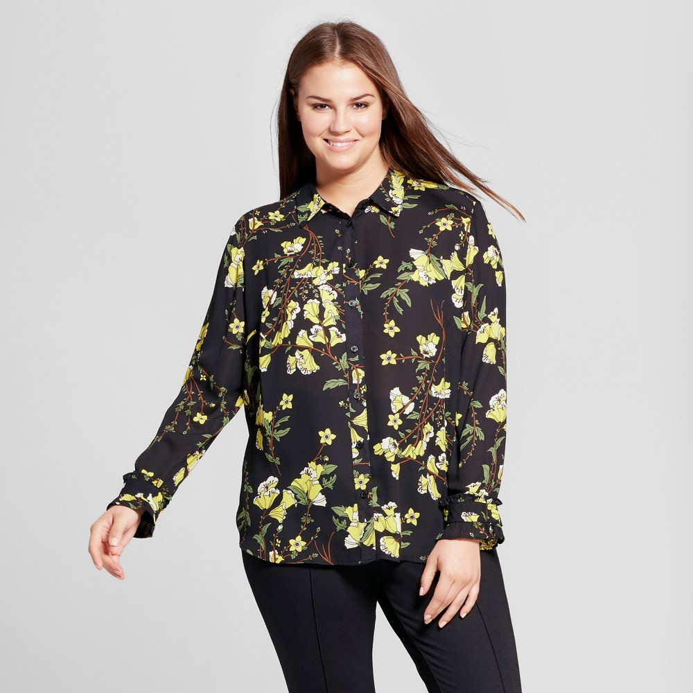 Womens Plus Size Ruffle Cuff Blouse - Who What Wear - Black Floral 1X