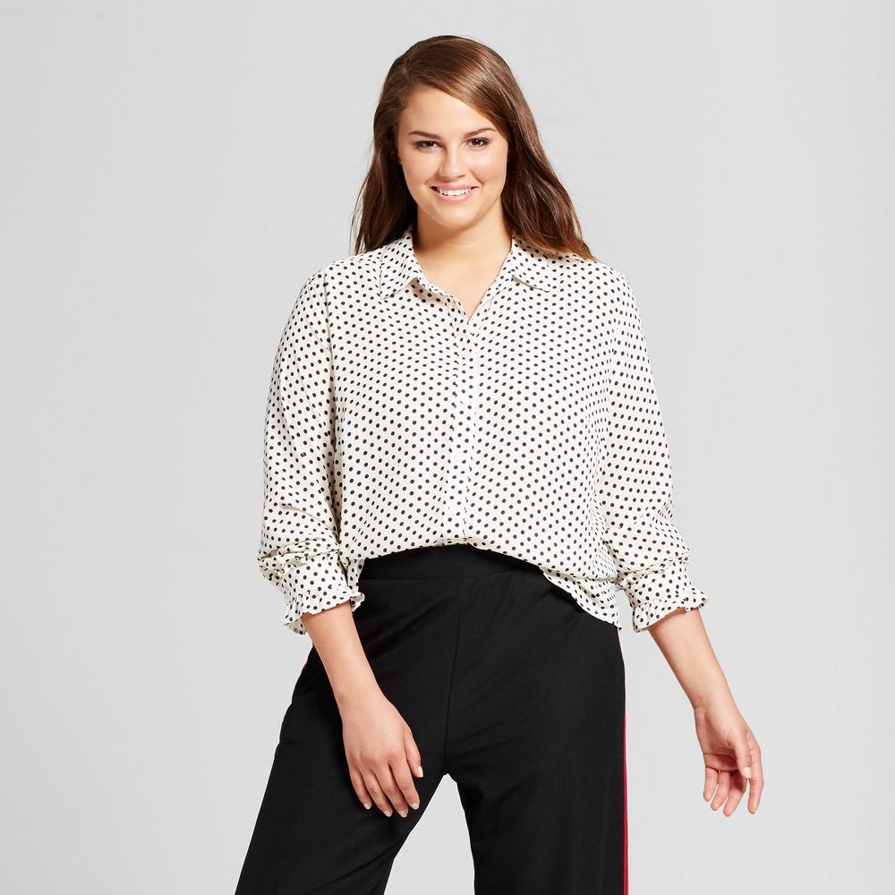 Womens Plus Size Ruffle Cuff Blouse - Who What Wear Black Polka Dot X, Black Dot