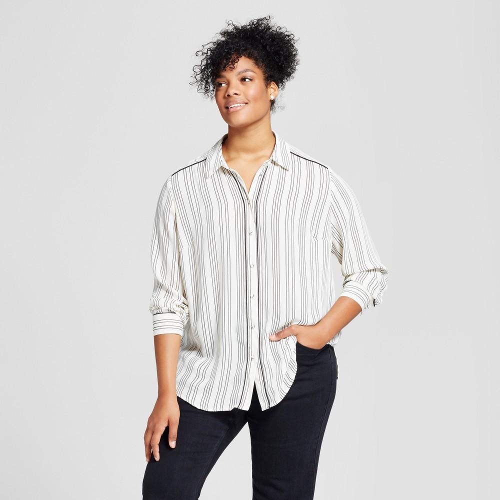 Womens Plus Size Piped Pajama Shirt - Who What Wear Black/White Stripe 2X