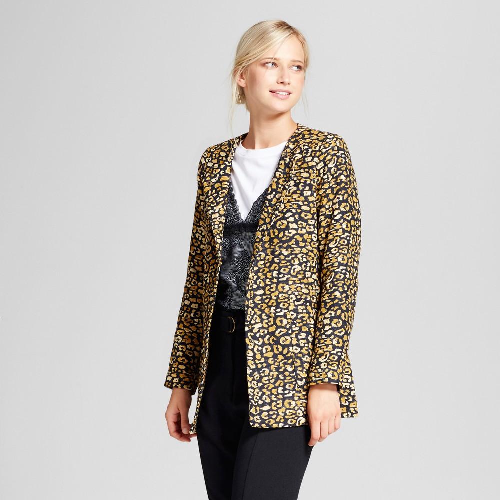 Womens Frock Coat - Who What Wear Cheetah Print M, Yellow