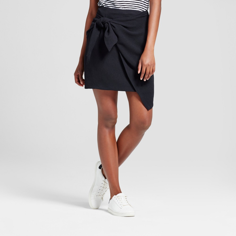 Womens Tie Skirt - Who What Wear Black 8