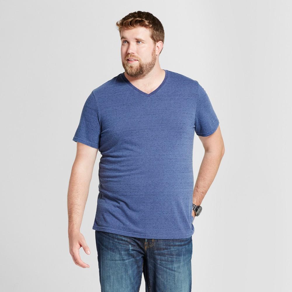 Mens Big & Tall Standard Fit Short Sleeve V-Neck T-Shirt - Goodfellow & Co Dark Blue LT