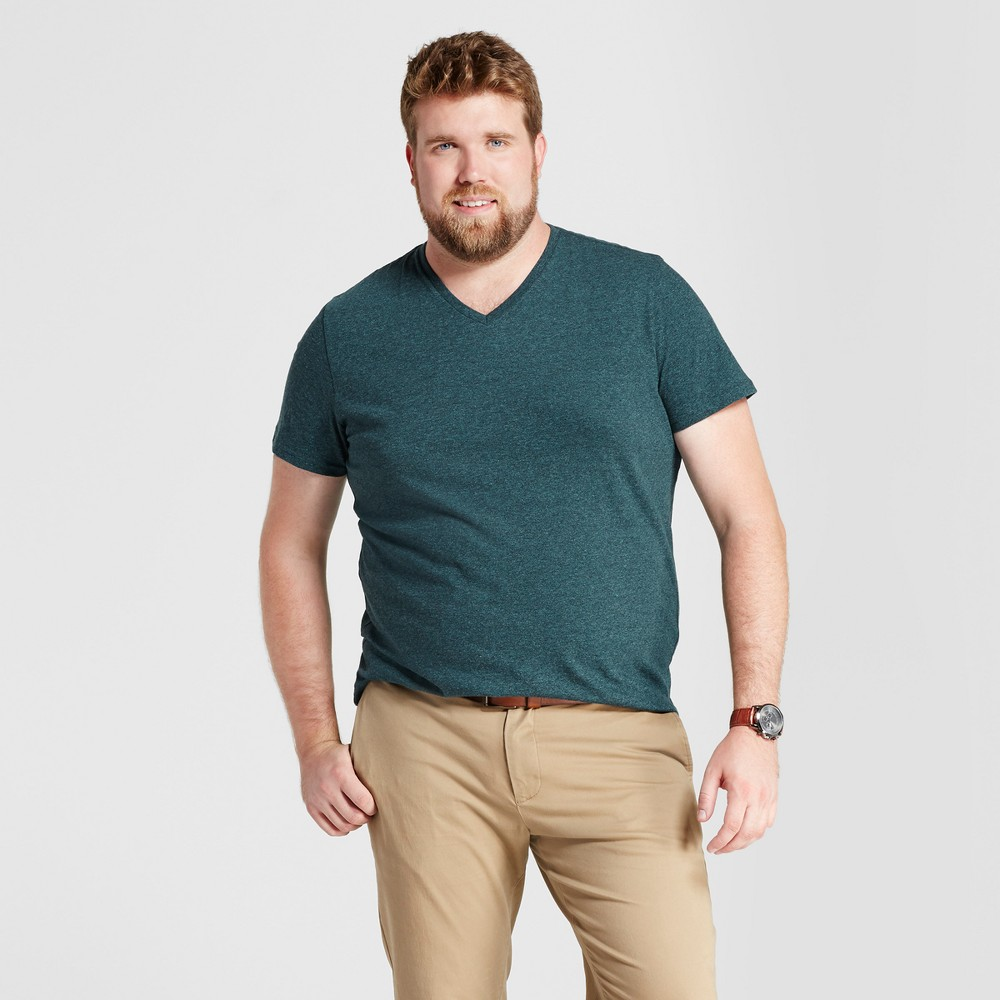 Mens Big & Tall Standard Fit Heathered Short Sleeve V-Neck T-Shirt - Goodfellow & Co Green MT