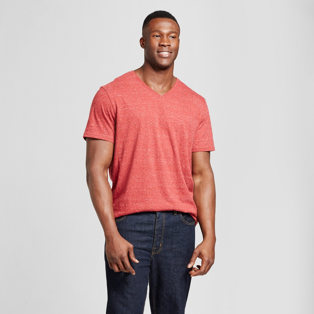 Mens Big & Tall Standard Fit Heathered Short Sleeve V-Neck T-Shirt - Goodfellow & Co Red MT