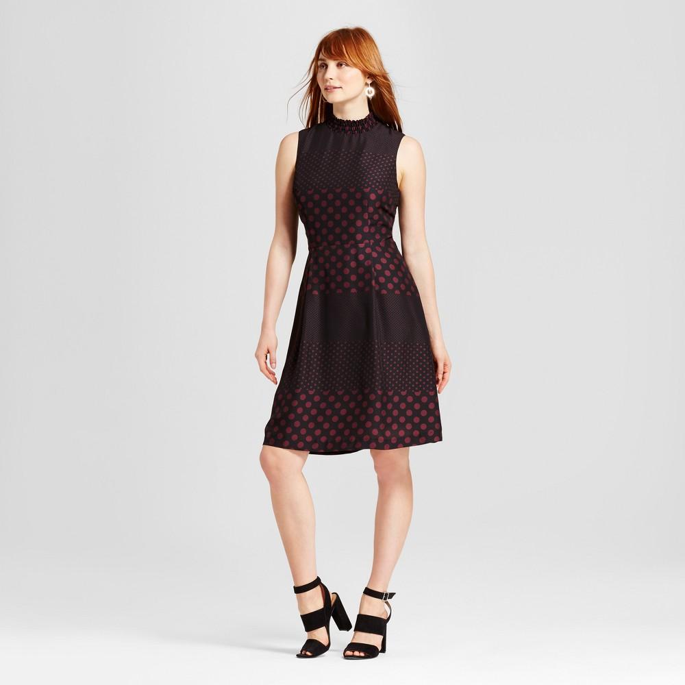 Womens Smocked Neck Mini Dress - Who What Wear Black Polka Dot XS