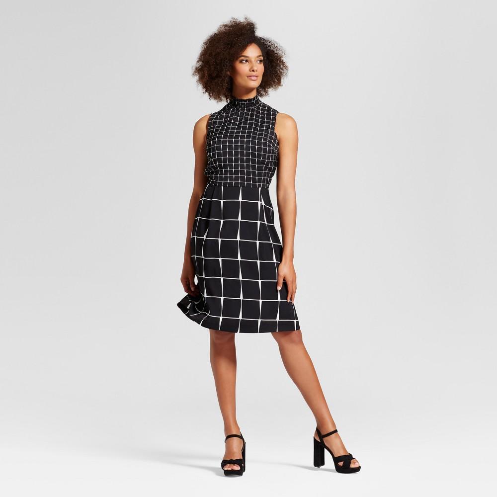 Womens Smocked Neck Mini Dress - Who What Wear Black/White L