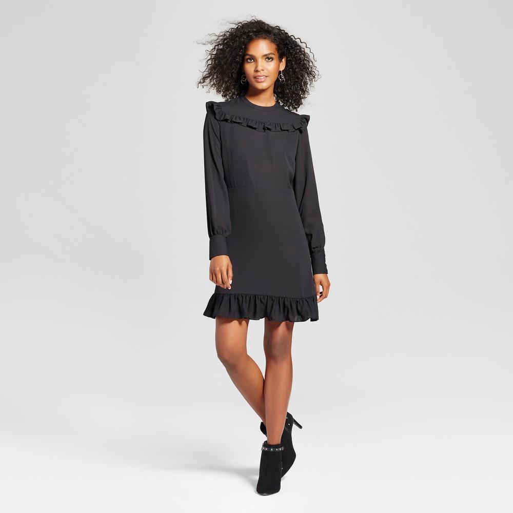 Womens Printed Mini Dress - Who What Wear Black XS