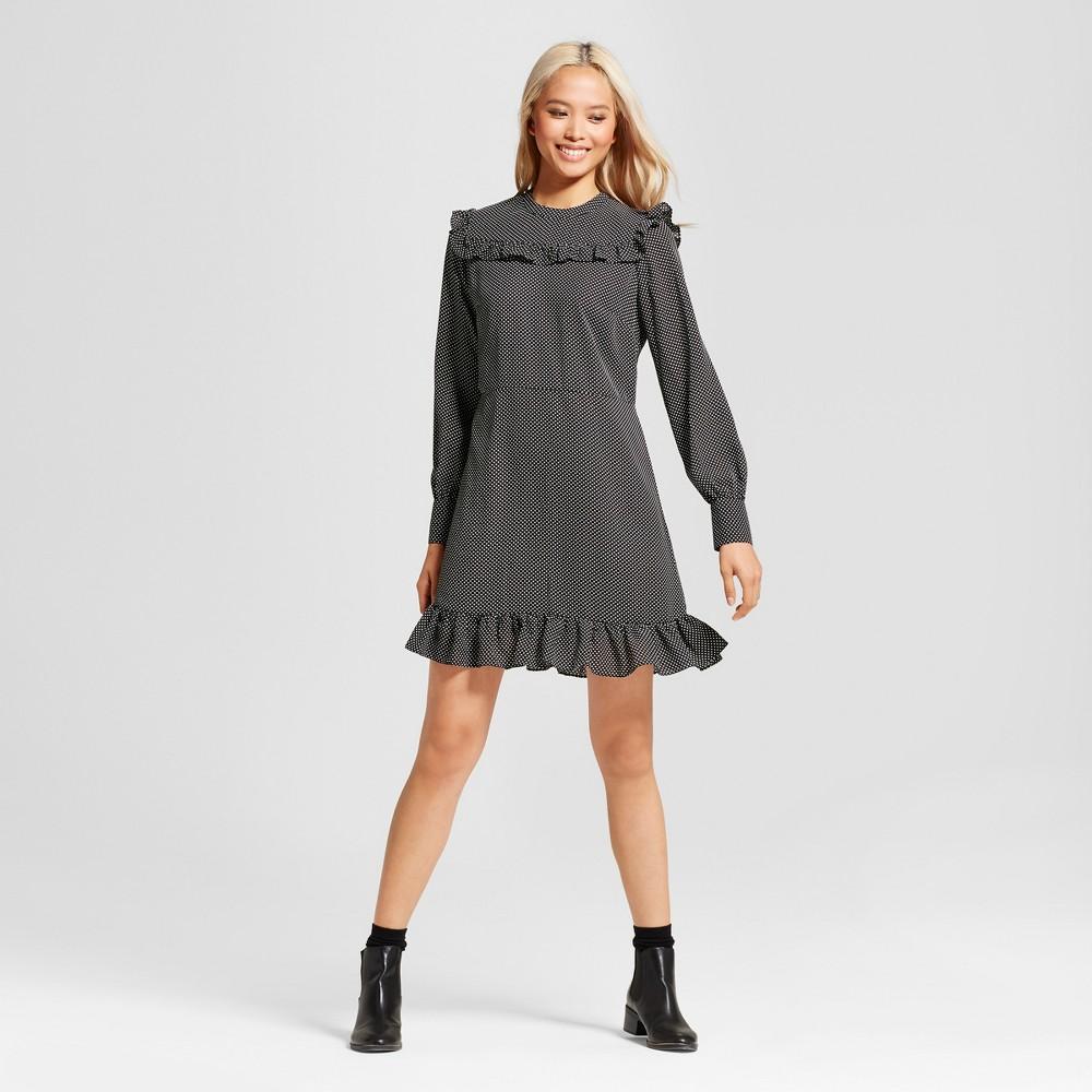 Womens Printed Mini Dress- Who What Wear Black Polka Dot S