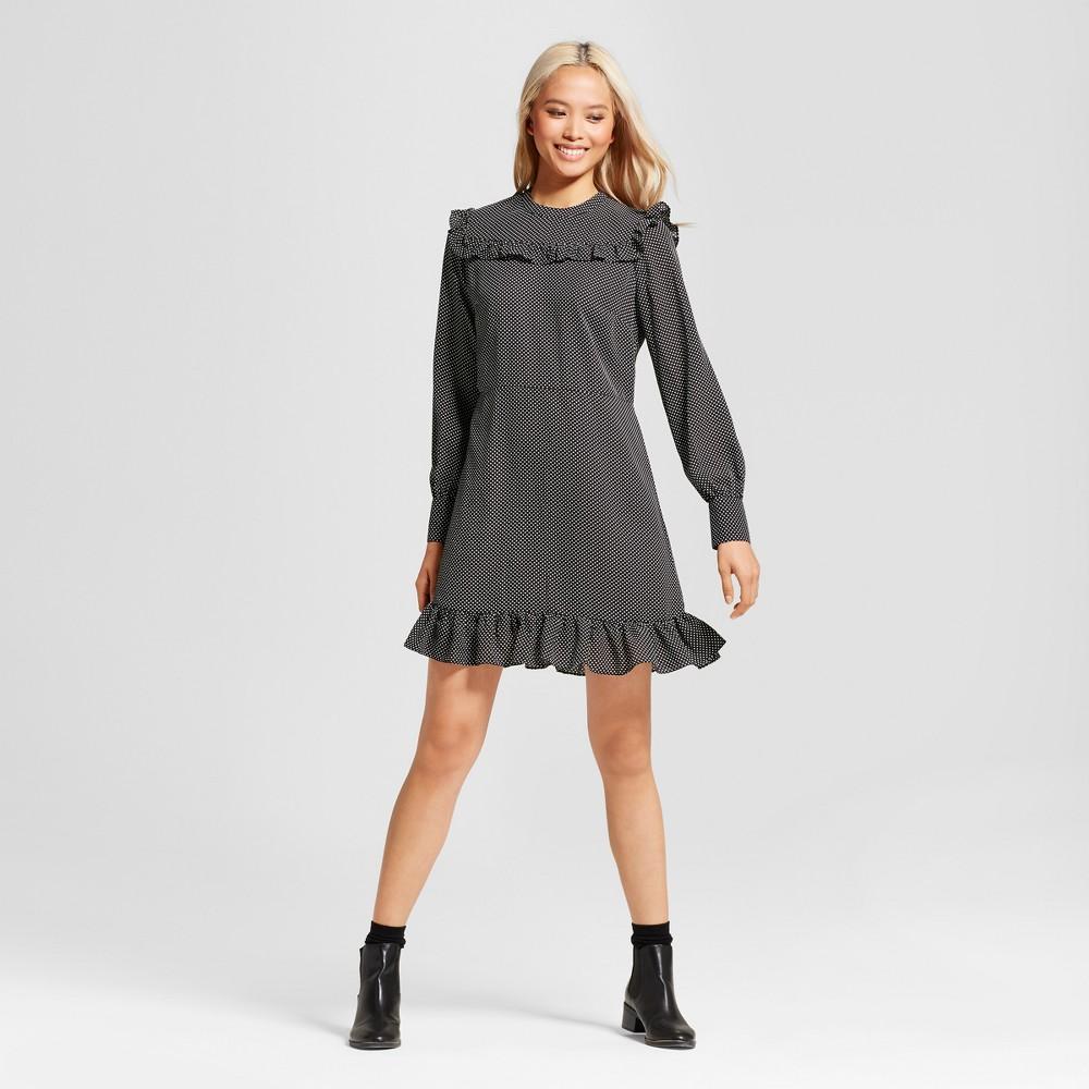 Womens Printed Mini Dress- Who What Wear Black Polka Dot L